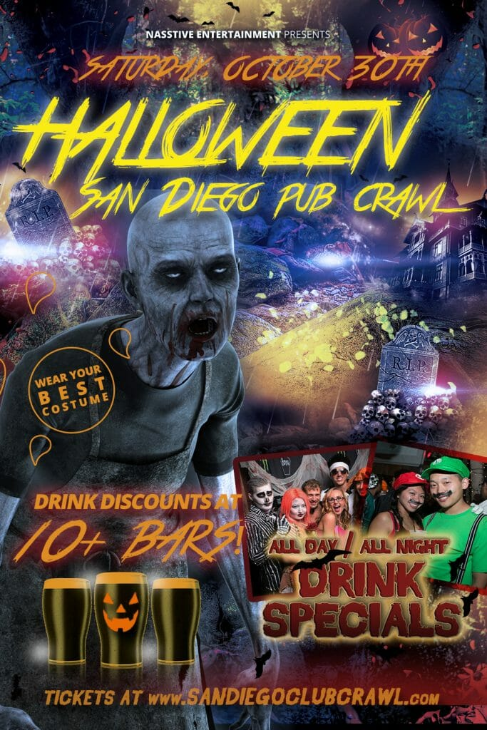 Scary flyer for San Diego Halloween pub crawl with Zombies