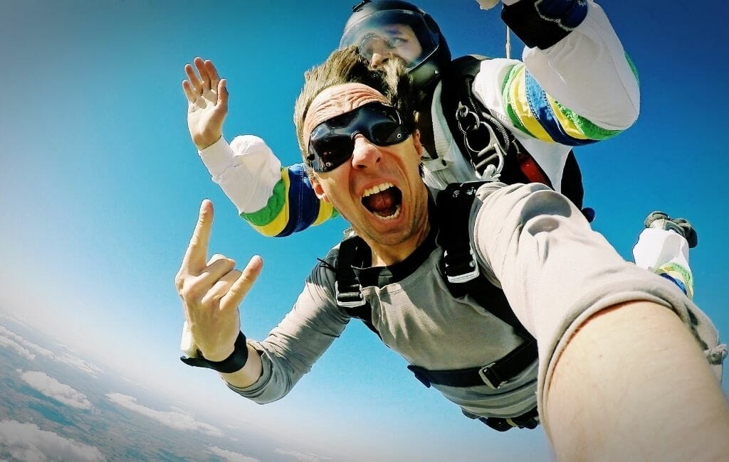 Tandem Skydiver during jump