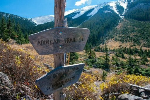 Wooden trail sign with mountain meadows and peaks in the background