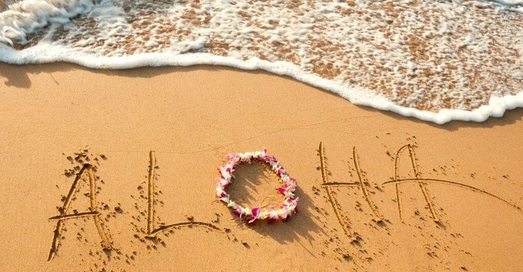 Aloha written in the sand with wave coming in from the top