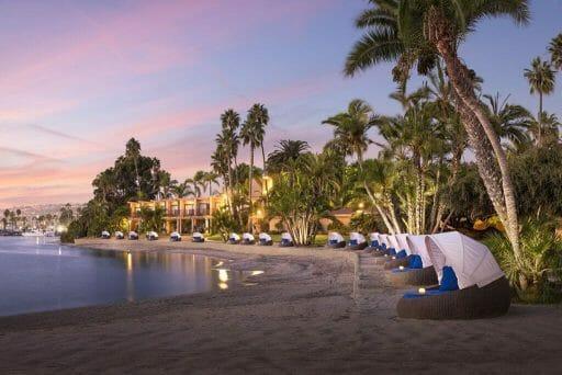 Bahia Resort beach cabanas at dusk