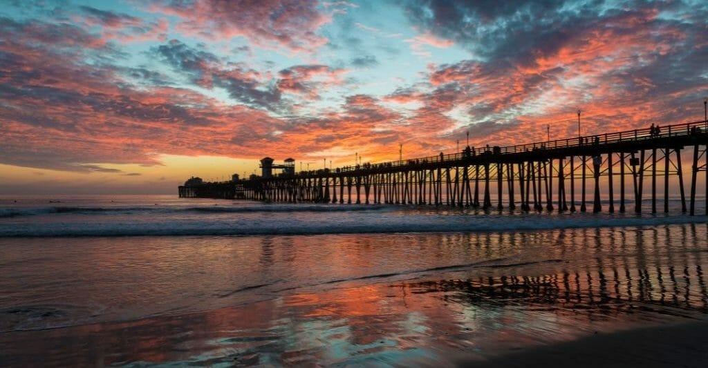 Visit Oceanside Pier during sunset
